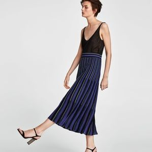 ZARA LONG STRIPED SHIMMERY SKIRT
